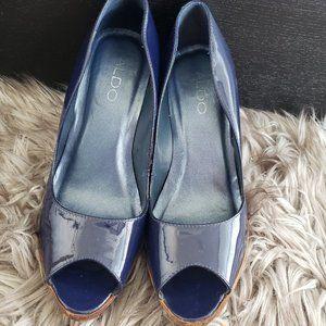 Vintage peep-toe patent leather Aldo pumps